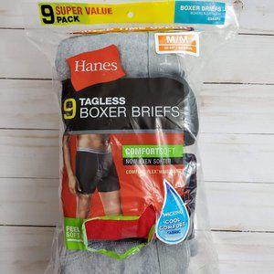 8 Pair Hanes Tagless Boxer Briefs Medium 32 - 34